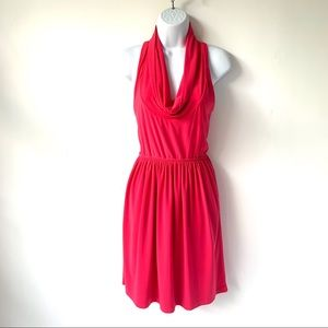 JUDITH MARCH HOT PINK COWL NECK POLYESTER DRESS